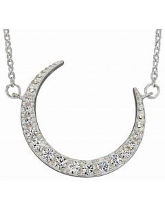 Mon-bijou - D4424c - Collier croissant de lune en argent 925/1000