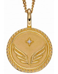 Mon-bijou - D5005c - Collier étoile et aile d'ange plaqué or en argent 925/1000