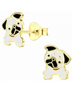 Mon-bijou - H10005643 - Boucle d'oreille le carlin chien plaqué or en argent 925/1000