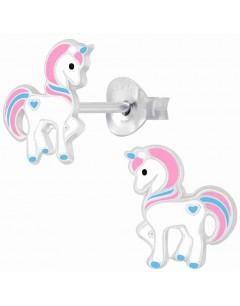Mon-bijou - H10009268 - Boucle d'oreille poney rose en argent 925/1000