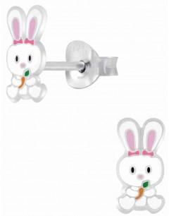 Mon-bijou - H10009691 - Boucle d'oreille petit lapin rose en argent 925/1000