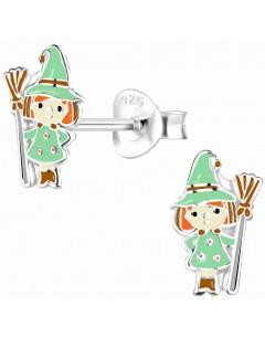 Mon-bijou - H10010537 - Boucle d'oreille petite sorciére verte en argent 925/1000