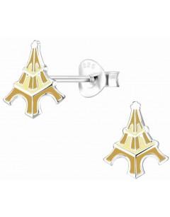Mon-bijou - H10011293 - Boucle d'oreille tour eiffel doré en argent 925/1000