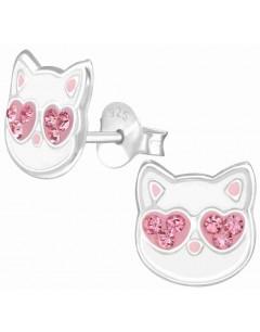 Mon-bijou - H38504 - Boucle d'oreille chat aux yeux cours rose en argent 925/1000