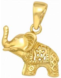 Mon-bijou - H41101 - Collier éléphant plaqué or en argent 925/1000