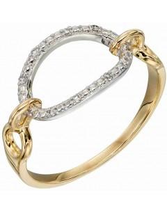 Mon-bijou - D584 - Bague diament sur or blanc et jaune 375/1000