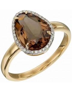 Mon-bijou - D585 - Bague diament et quartz fumé sur or 375/1000