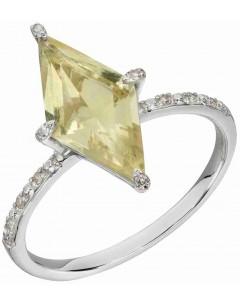 Mon-bijou - D586 - Bague diament et quartz citron sur or blanc 375/1000