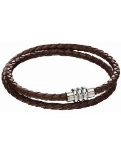 Mon-bijou - D5132 - Bracelet cuir marron en acier inoxydable