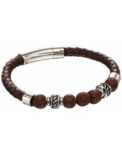 Mon-bijou - D5141 - Bracelet cuir marron en acier inoxydable