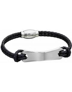 Mon-bijou - D5277 - Bracelet cuir en acier inoxydable