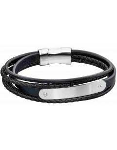 Mon-bijou - D5282 - Bracelet cuir en acier inoxydable