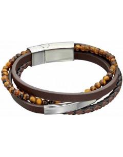 Mon-bijou - D5317 - Bracelet cuir en acier inoxydable
