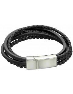 Mon-bijou - D5318 - Bracelet cuir en acier inoxydable