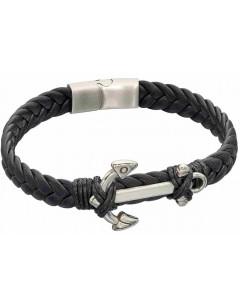 Mon-bijou - D5323 - Bracelet cuir en acier inoxydable