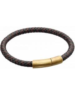 Mon-bijou - D5326 - Bracelet cuir en acier inoxydable