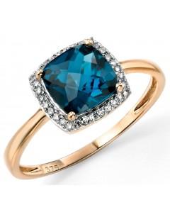 Bague topaze bleu et diamant en Or 375/1000