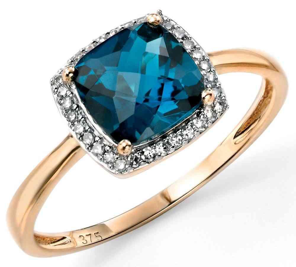 Bien-aimé Mon-bijou - D453 - Bague topaze bleu et diamant en Or 375/1000 HH89