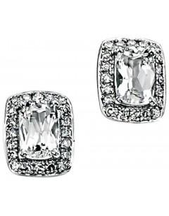 Boucle d'oreille topaze blanc et diamant en Or blanc 375/1000