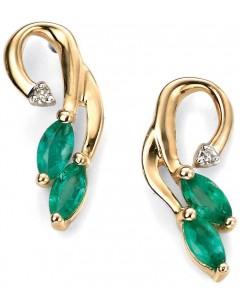 Boucle d'oreille émeraude et diamant en Or 375/1000