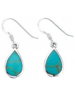 Mon-bijou - D2424u - Boucle d'oreille turquoise en argent 925/1000